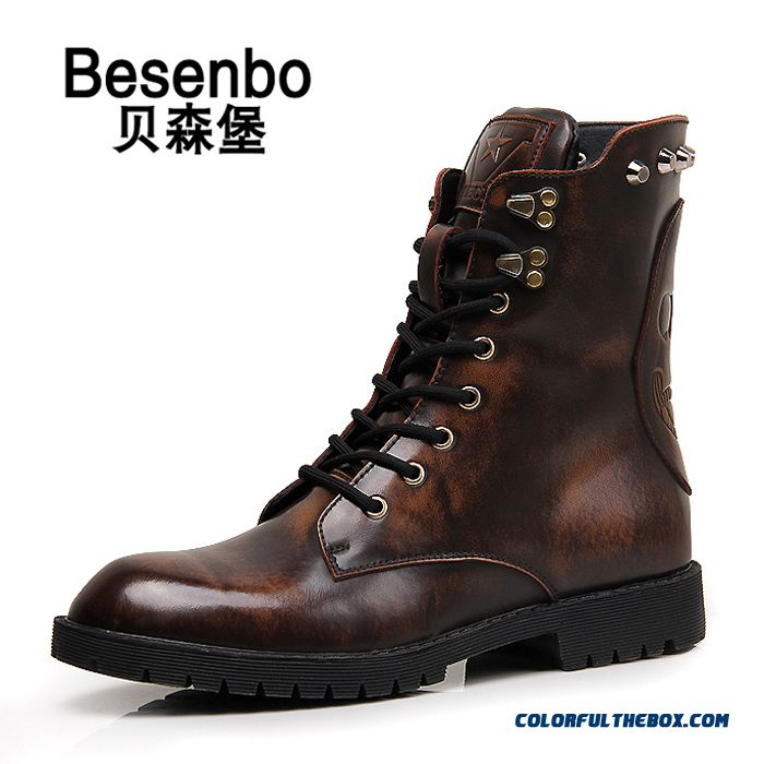 New Winter Warm Personality Retro High-top Men Boots Cotton Genuine Leather Shoes