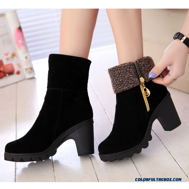 New Winter Women Boots Thick Heel High-heeled Black Keep Warm Black Shoes