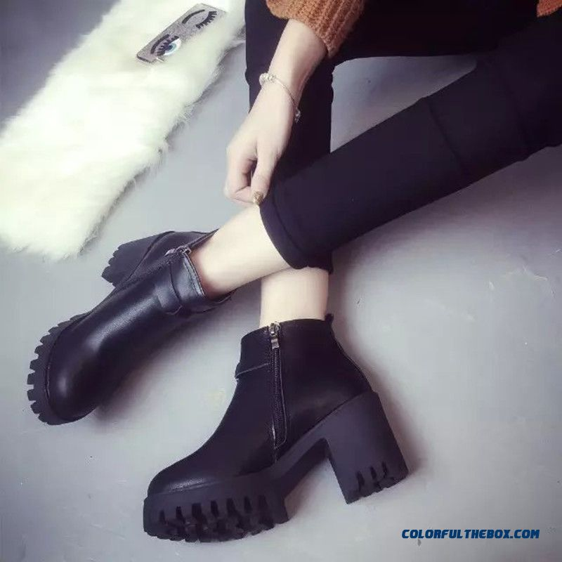 New Winter Women Casual Ankle Boots Side Zipper Middle-heels Martin Boots
