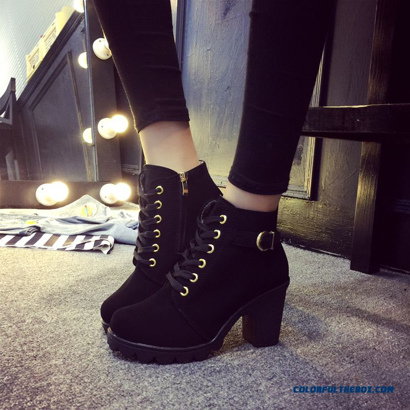 Cheap New Winter Women High-heeled Boots Thick Heel Lace Short ...