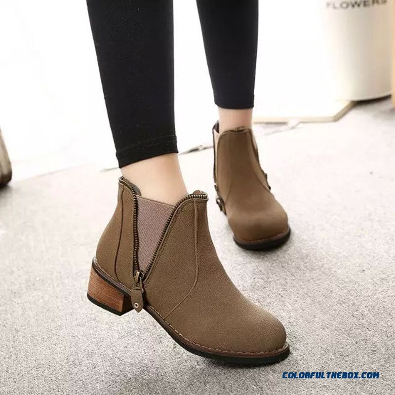 New Winter Women Low-heeled Martin Boots Side Zipper Retro Round Ankle Boot