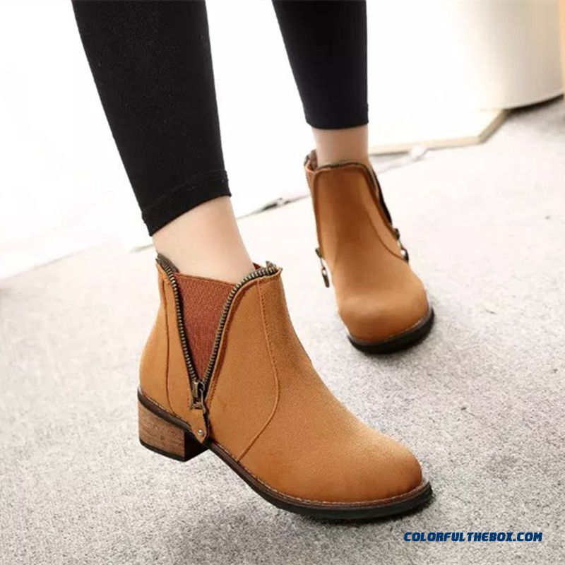 New Winter Women Low-heeled Martin Boots Side Zipper Retro Round Ankle Boot - more images 3