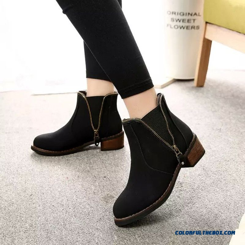 New Winter Women Low-heeled Martin Boots Side Zipper Retro Round Ankle Boot - more images 4
