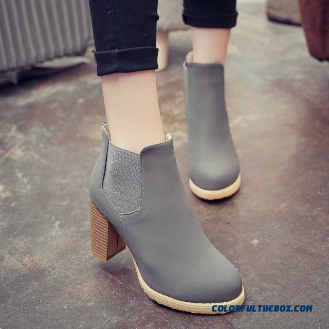 New Winter Women Martin Boots Black Elastic Band Waterproof High-heeled Round Ankle Boot