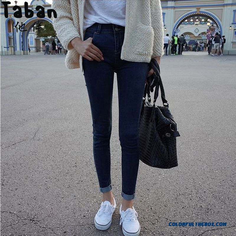 467ad81e2e61 New Winter Women Pants Solid Color Skinny Jeans Navy Blue Simple Hot Selling