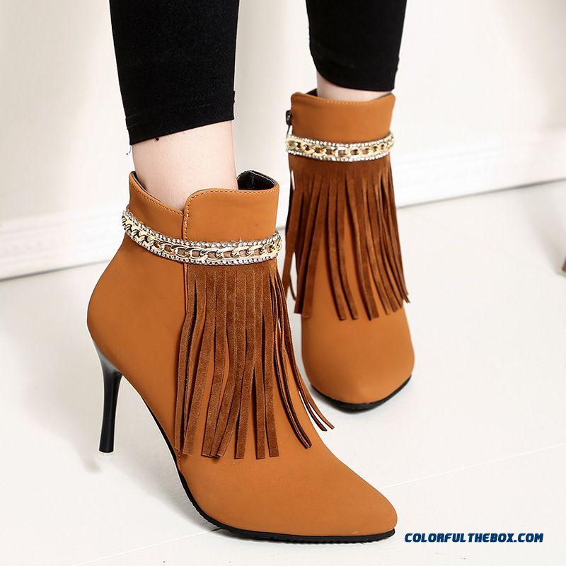 New Winter Women Shoes Pointed Fine With Fringed Boots Side Zipper Fashion