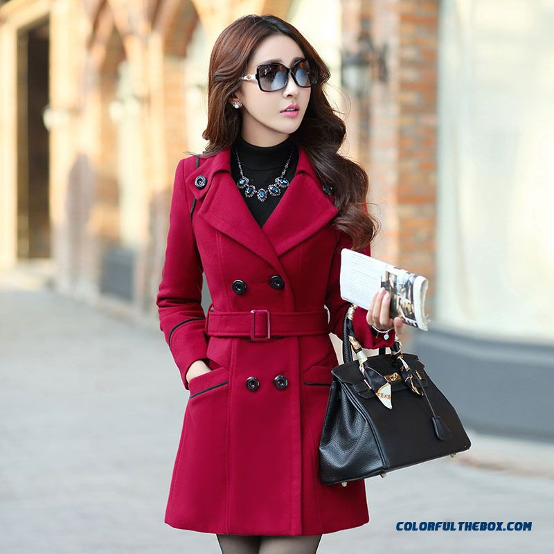 New Winter Women Woolen Coat Long Sections Korean Version Of Slim Thin Double-breasted