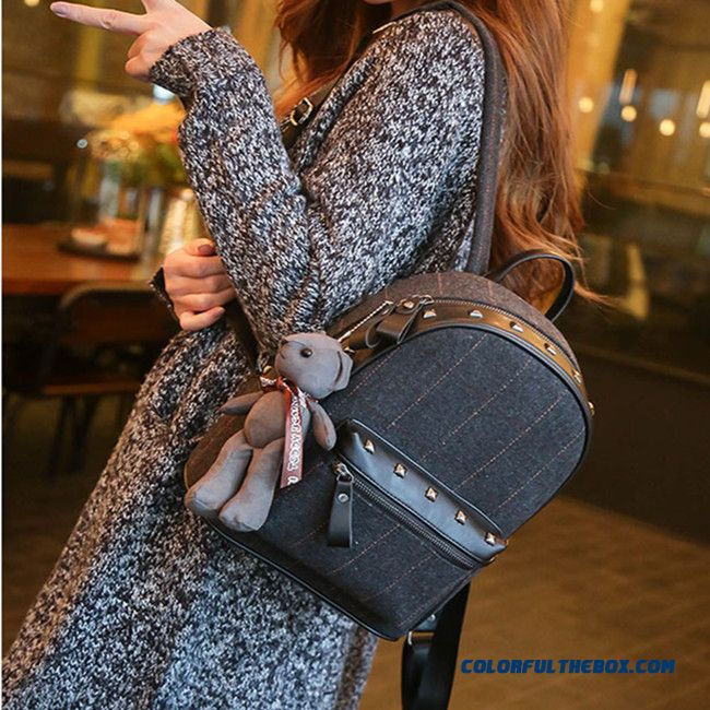 New Woman Woolen Rivet Casual Backpack College Style Fashion Small Backpack