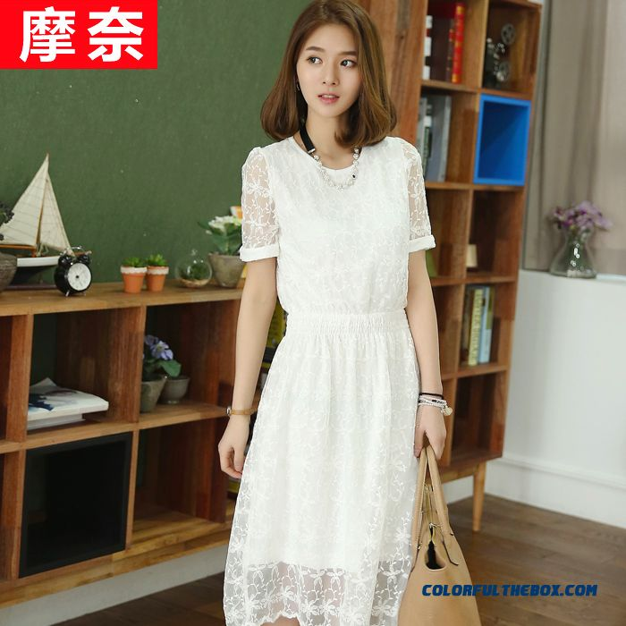 New Wome Openwork Lace Embroidery Thin Short-sleeved Dress Large Size Long Section