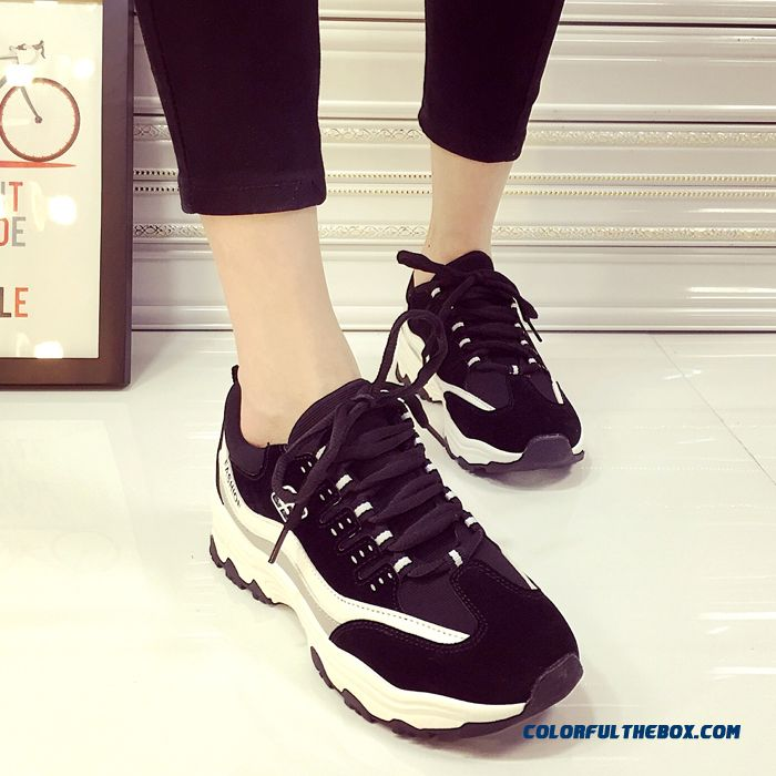 New Women Casual Shoes Thick Bottom Breathable Black Tide