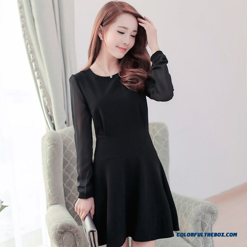 New Women Dress Long Sleeve Black Chiffon Splicing Large Size