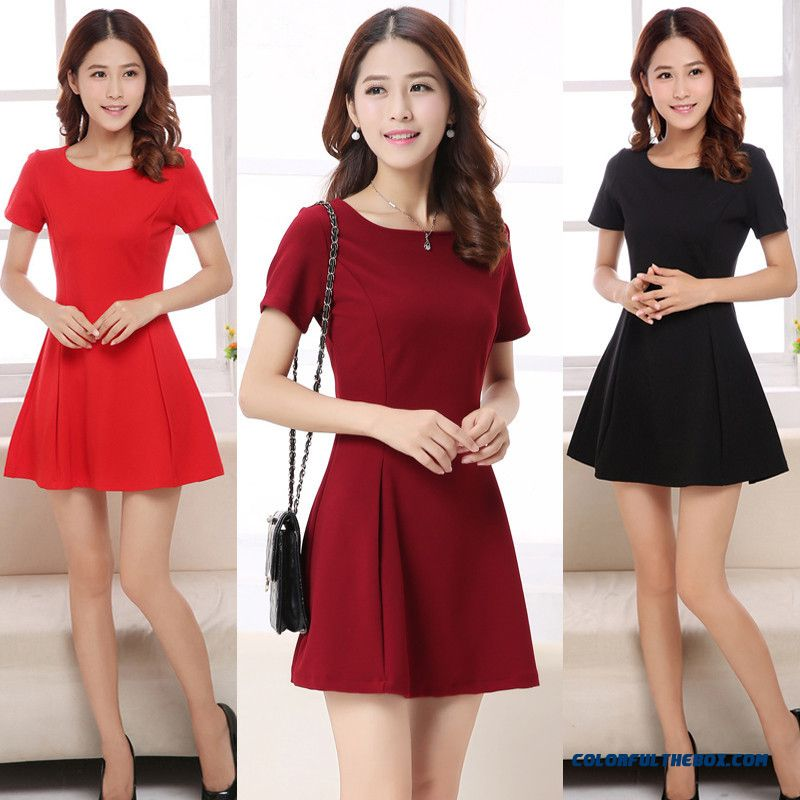 New Women Dress Slim Short Sleeve Frills Wine Red Summer Fashion