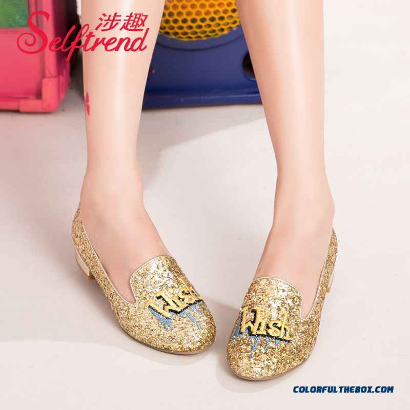 New Women European And Americane Pattern Embroidered Sequins Round-toe Low-heeled Flat Shoes