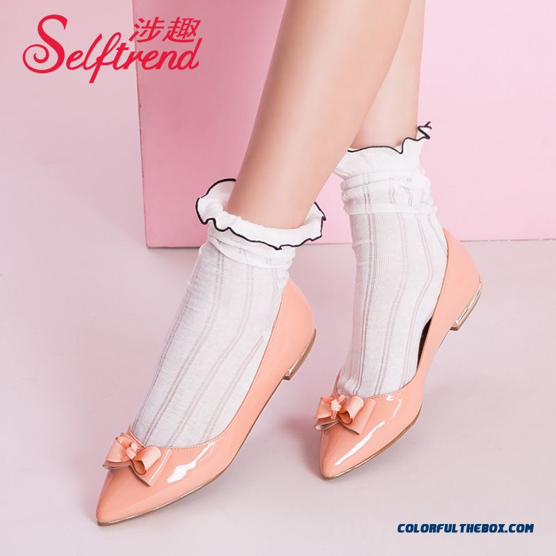 New Women Fall Bow-tie Decorative Pointed Patent Leather Flat Shoes Shallow Mouth