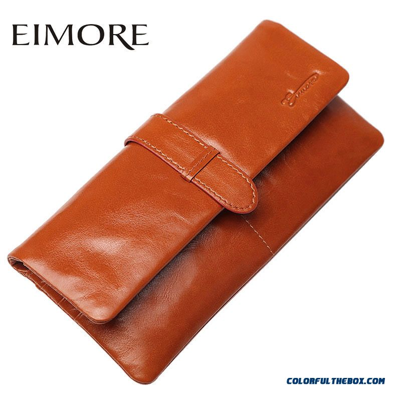 New Women Holding Purse Lomh Hasp Soft Leather Genuine Leather Thin Wallets Bags