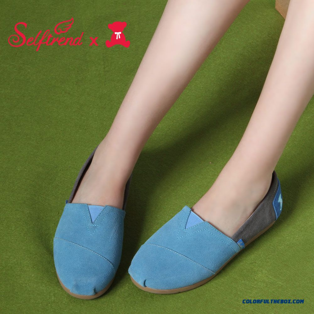 New Women Leather Fashion Casual Hit The Color Candy-colored Flat Shoes