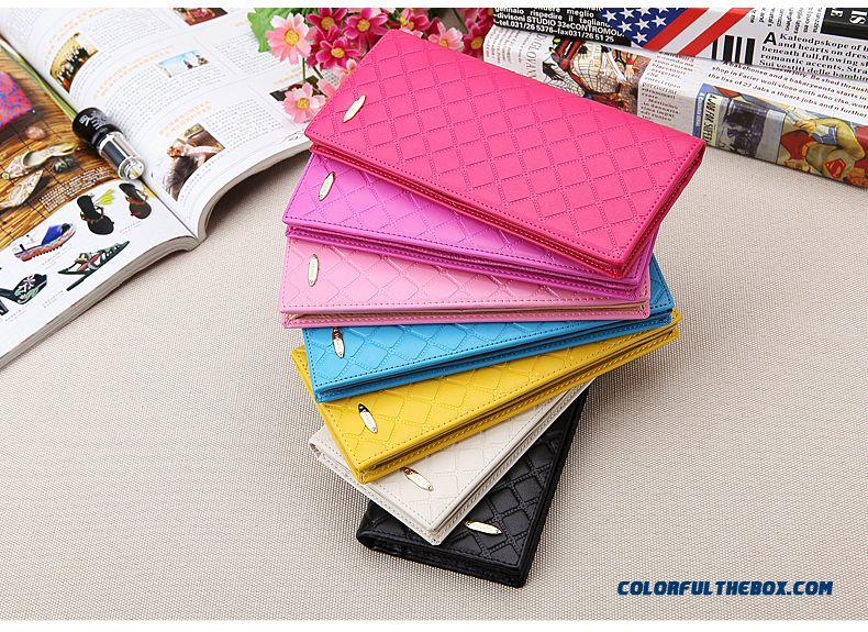 New Women Long Purse Genuine Leather Thin Style Lattice Wallets Bags