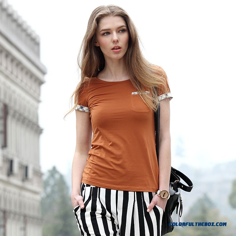 New Women's British Style Classic Stitching Slim All-match Cotton Short-sleeved T-shirt