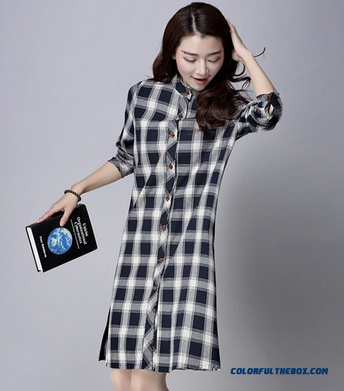c4e57c7864f Cheap New Women's Fashion Flax Loose Medium-long Shirt Standing Collar Shirt  Sale Online