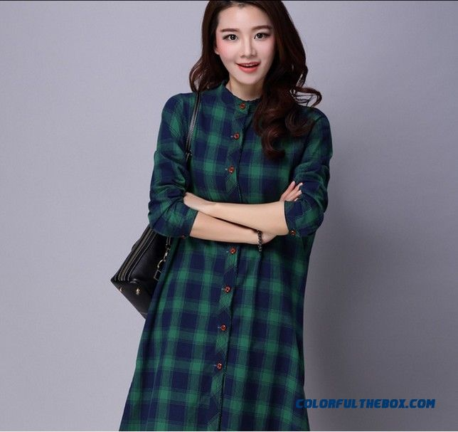 f2191400f94 ... New Women's Fashion Flax Loose Medium-long Shirt Standing Collar Shirt  ...