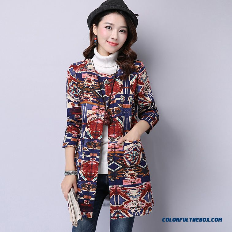 New Women's Winter Art Printing Thin Lambs Wool Cardigan Warm Quilted Coat