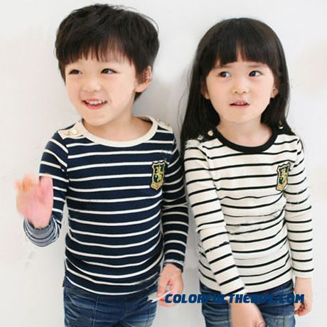 Newest Classic Design Stripes Boys And Girls Children's Kids Clothing Long-sleeved T-shirt Primer Shirt