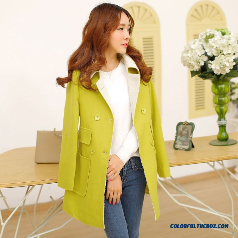 Newest Designe Chic Slim Double-breasted Medium-long Lamb Wool Coat Woolen Coat For Women