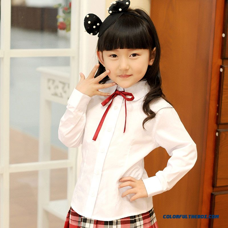 Newest Designe College Style Long-sleeved Shirt Lapel Kids Autumn 2016 New Girls Elegant And Delicate Shirt