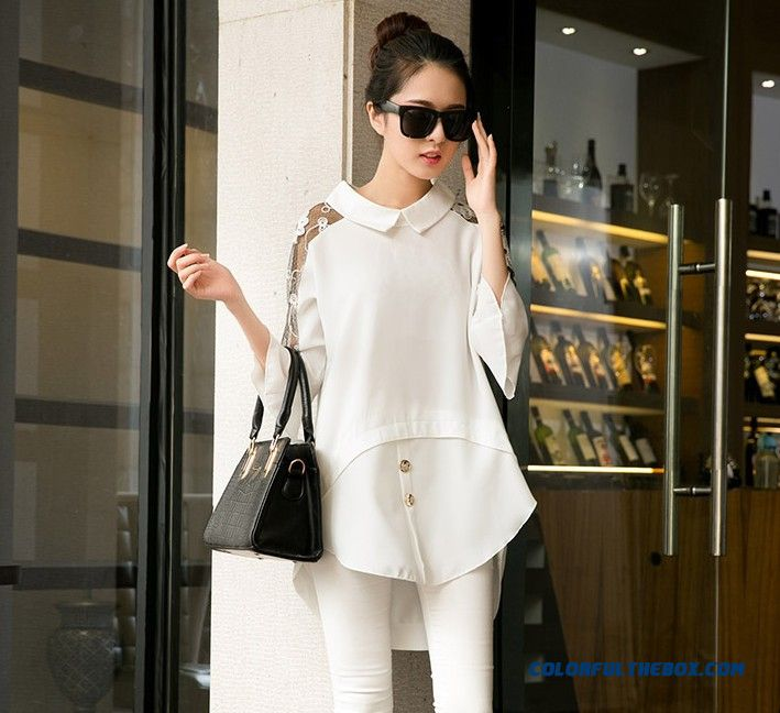 Newest Doll Collar Stitching Lace Sleeve Shirt Chiffon Shirt Women Blouses