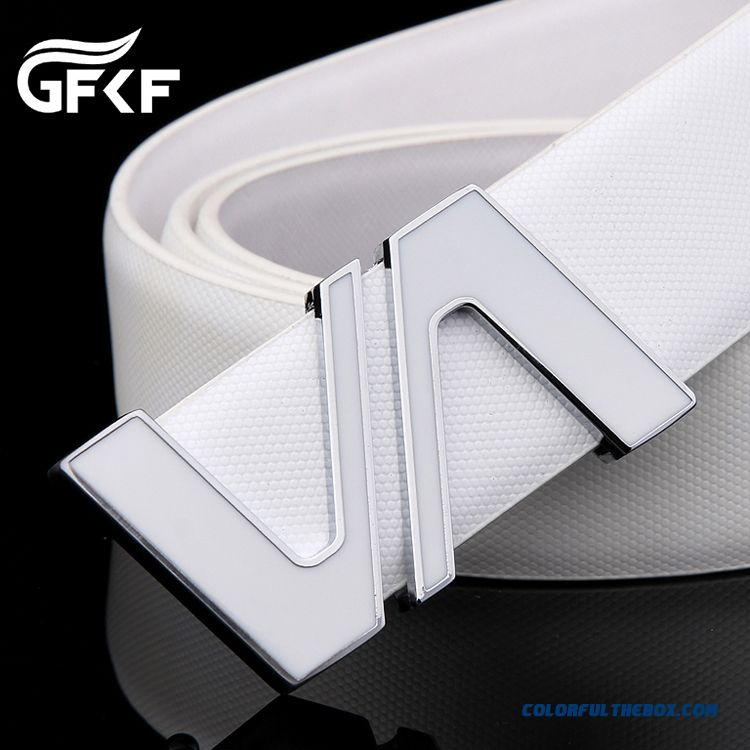 Newest Fashion White Belt Smooth Buckle Genuine Belt Youth Energetic Men's Accessories