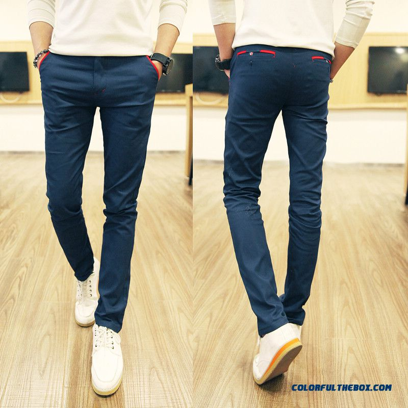 Newly Designed Corduroy Men's Casual Pants Tide Elastic Slim Straight