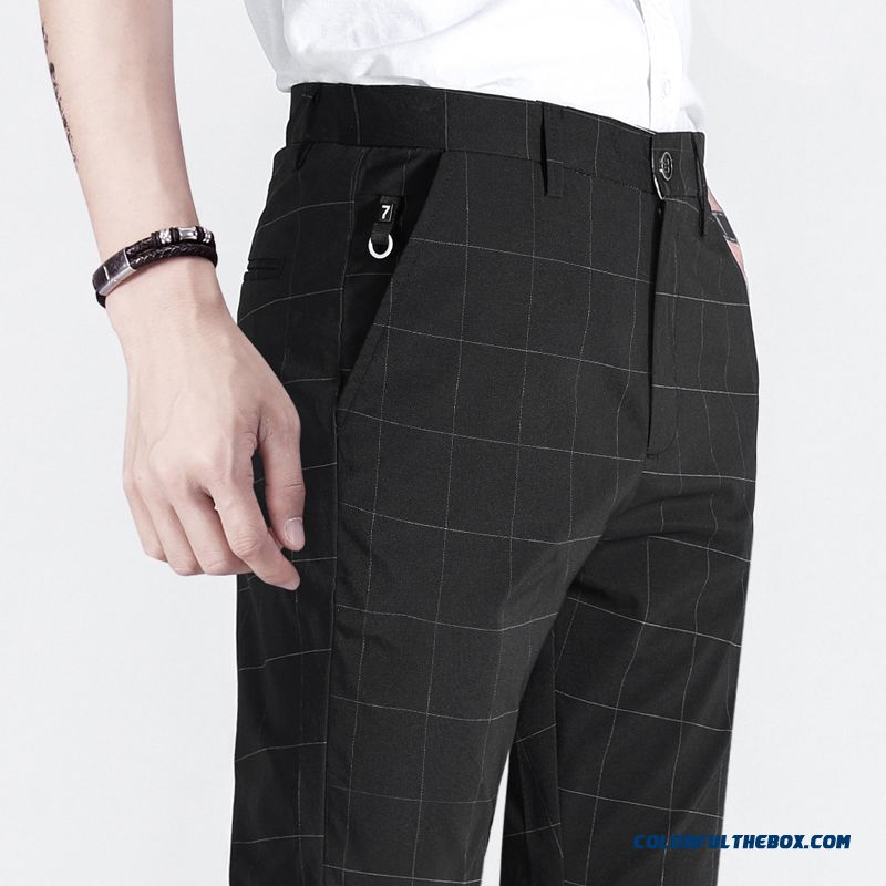 Ninth Pants Men's Trend England Suit Skinny Leisure Checks Slim Black Summer