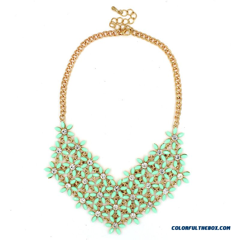 Nk011 European And American Big Necklace Floral Fashion Jewelry For Women