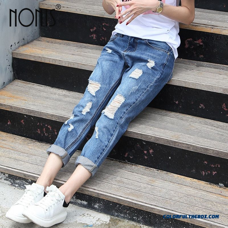 Nonis Jeans 2017 Woman Ripped Ladies Jeans Vintage Boyfriend Jeans Sexy Denim Femme Loose Pantalones With Holes Plus Size
