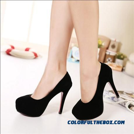 Occupational Waterproof Bottom Black High-heeled Women Shoes Fine Heel Suede Round-toe Shallow Mouth Pumps