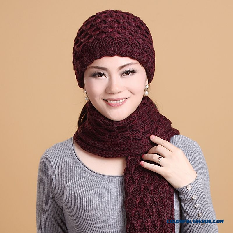 Old Lady Hat Scarf Set Wool Knited Cap Accessories Spercial Offer Free Shipping