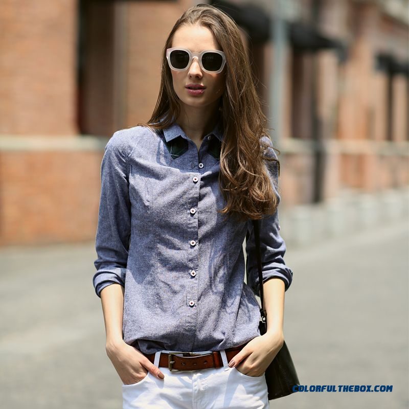 Old Vintage Effects Design Slim And Thin Long-sleeved Women Shirt