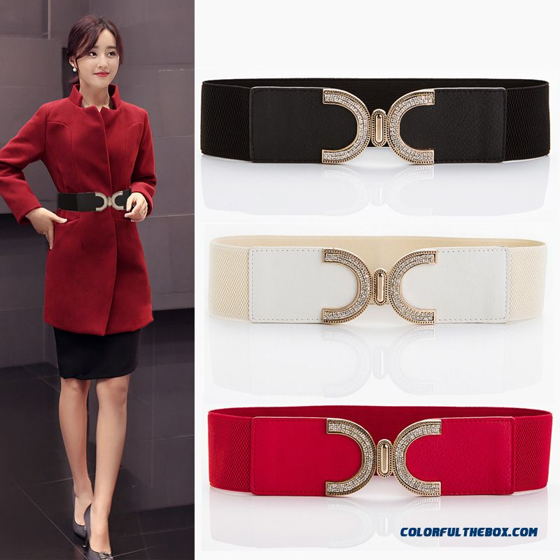On Sale Elastic Stretch Ladies Cummerbun Wide Belt Decorated Belt Women All-match Sweet