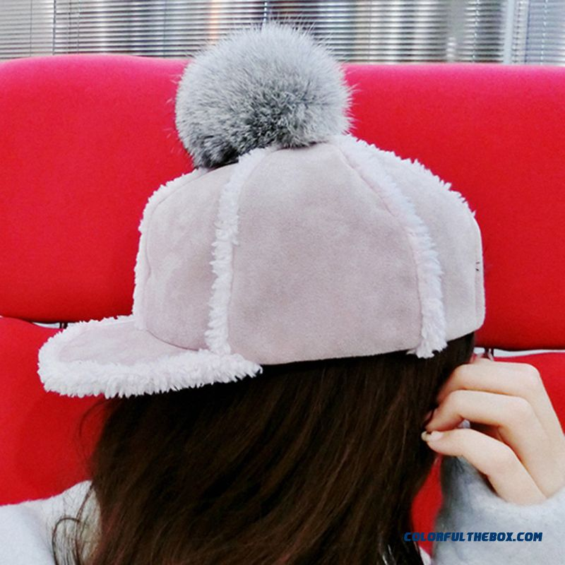 On Sale Winter Accessories Of Warm Suede Rabbit Fur Ball Knight Hat Teenage Girls Women Thickened Peaked Cap - more images 1