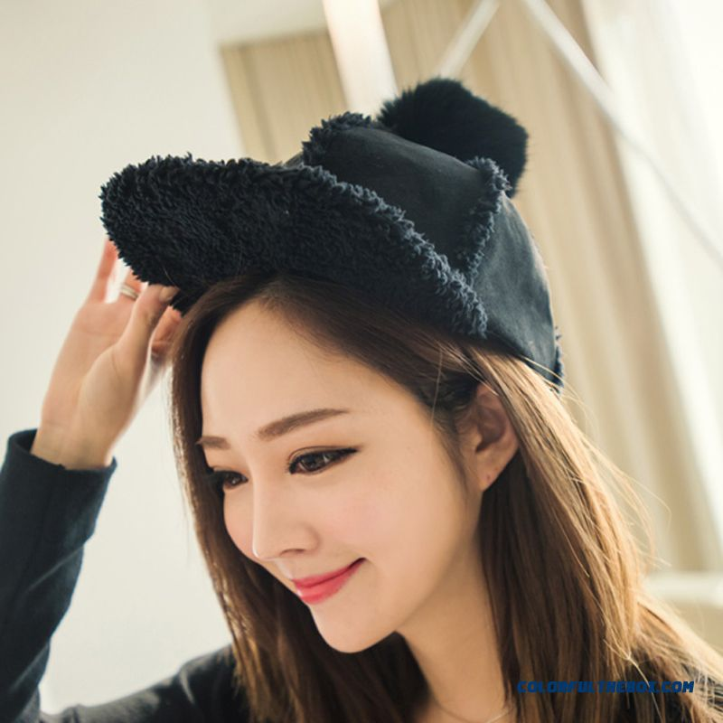 On Sale Winter Accessories Of Warm Suede Rabbit Fur Ball Knight Hat Teenage Girls Women Thickened Peaked Cap - more images 2