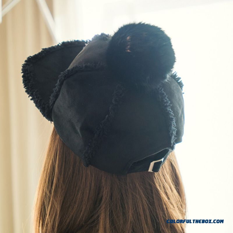 On Sale Winter Accessories Of Warm Suede Rabbit Fur Ball Knight Hat Teenage Girls Women Thickened Peaked Cap - more images 4