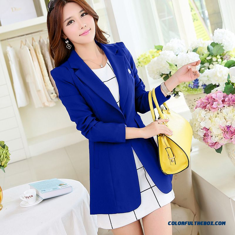 One Buckle Design Small Suit Coat Women Fashion Medium-long Long-sleeved Slim