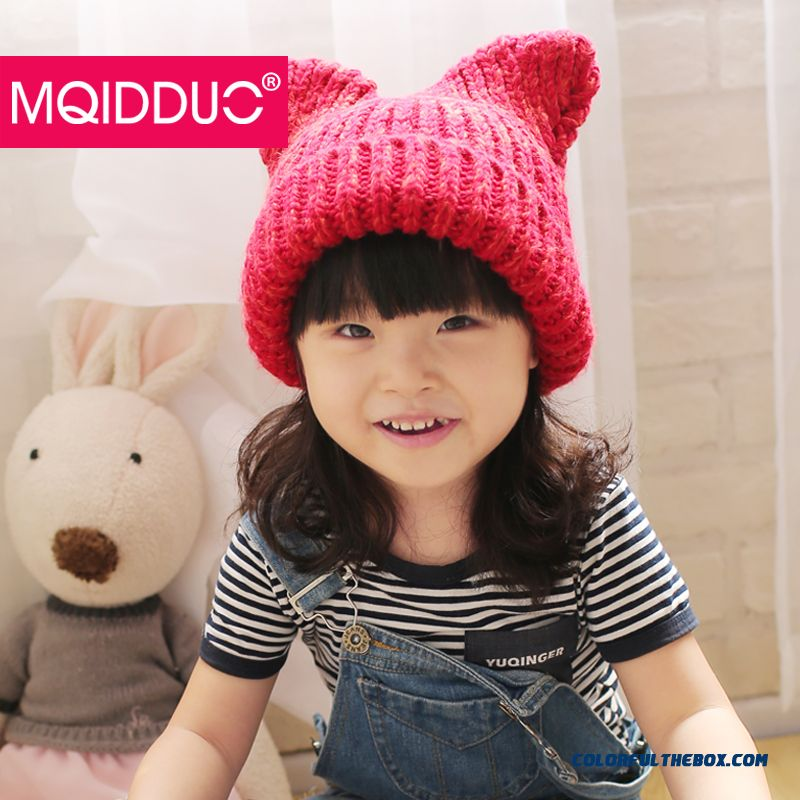 Orecchiette Cute Baby Hat Kids In Autumn And Winter Ear Cap Warm Wool Knit Cap For Girl