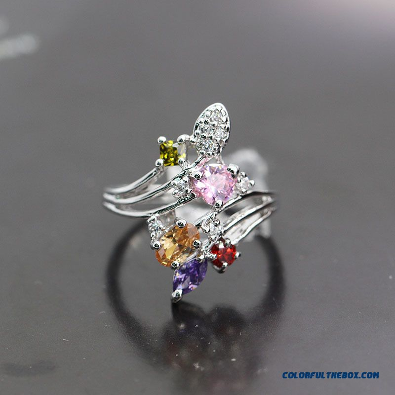 Original Colorful Zircon Imitation Diamond Ring Lady Women Zircon Ring Factory Direct Wholesale Jewelry