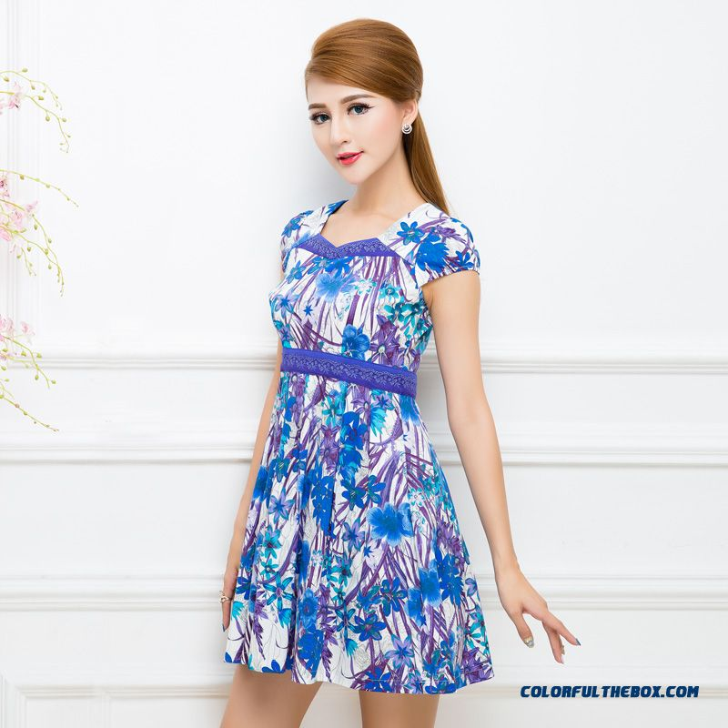 Original Design Women's Clothing New Printing Stitching Short-sleeved Dress