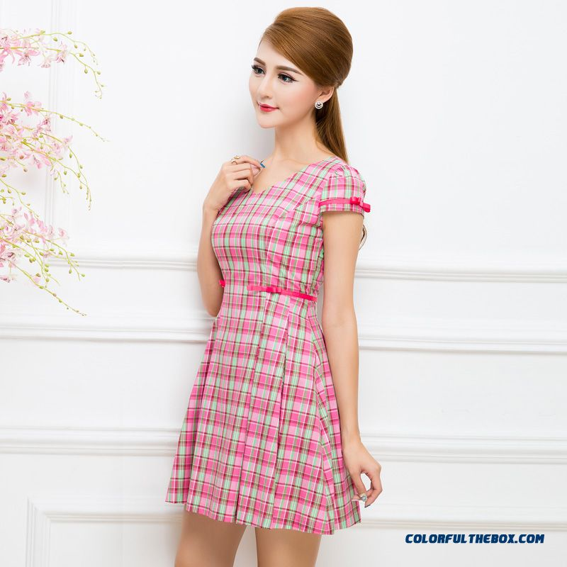 Original Plaid Summer Women Ladies Shaped Waist Dress Flash Sale