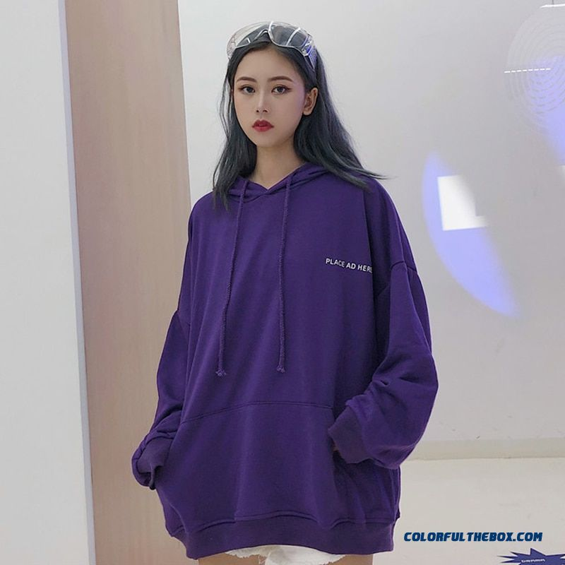 Oversized Women Hoodie 18 Bf Harajuku Letter Print Sweatshirt Loose Long Batwing Sleeve Hooded Tracksuit Female Puple K-pop Tops