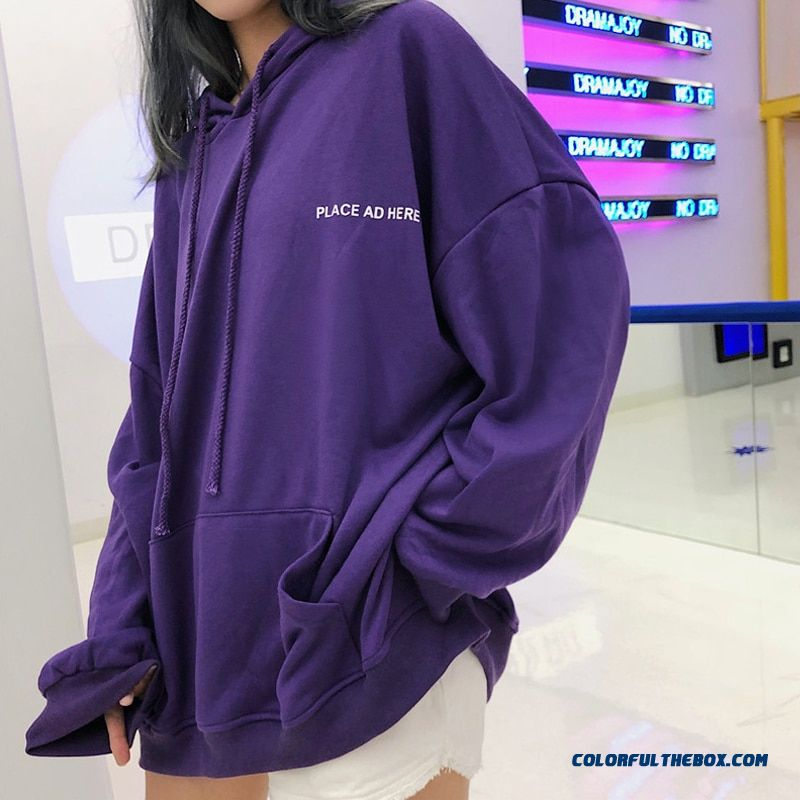 Oversized Women Hoodie 18 Bf Harajuku Letter Print Sweatshirt Loose Long Batwing Sleeve Hooded Tracksuit Female Puple K-pop Tops - more images 1