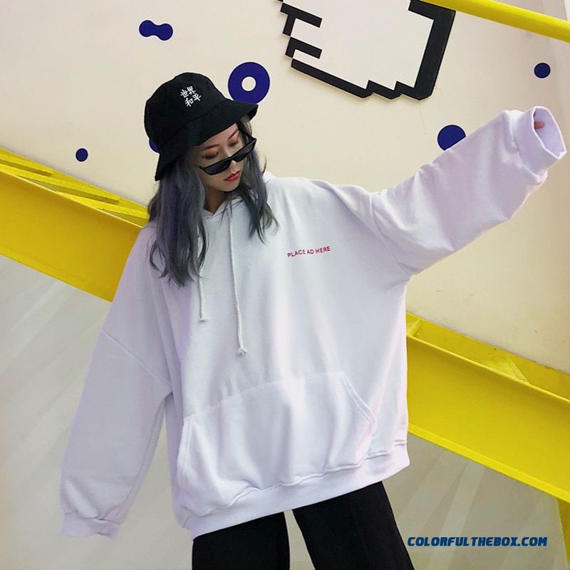 Oversized Women Hoodie 18 Bf Harajuku Letter Print Sweatshirt Loose Long Batwing Sleeve Hooded Tracksuit Female Puple K-pop Tops - more images 4