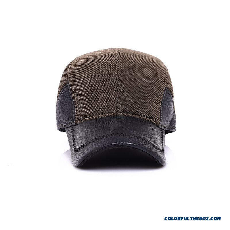 Overwinter Protection Men's Overwinter Protection Middle-aged Thickened Proteced Ear Cap Peaked Cap